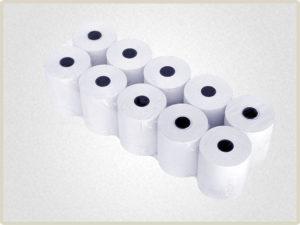 Чековая лента 80*60 поставляется упаковками по несколько роликов обтянутыми пленкой.