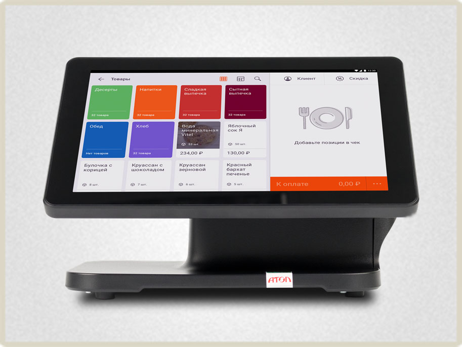 Угол наклона экрана онлайн кассы регулируется, встроенный принтер чеков оснащен автоотрезом. Все это сделает работу со смарт-терминалом более оперативной.