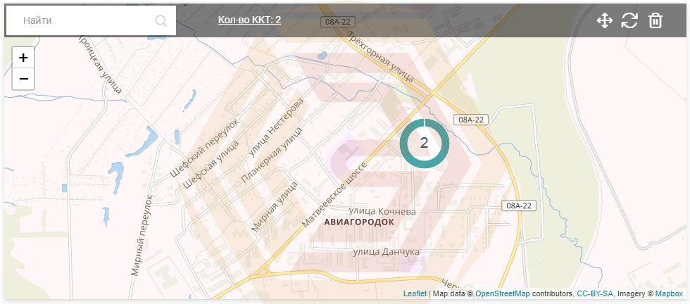 Платформа ОФД - виджет отображающий кассы на интерактивной карте в личном кабинете
