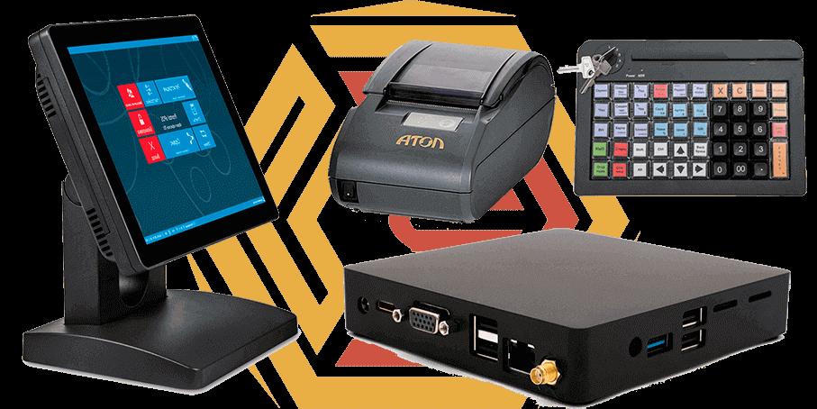 В комплект pos-терминала помимо компактного ПК, ФР и клавиатуры может входить любое периферийное торговое оборудование.